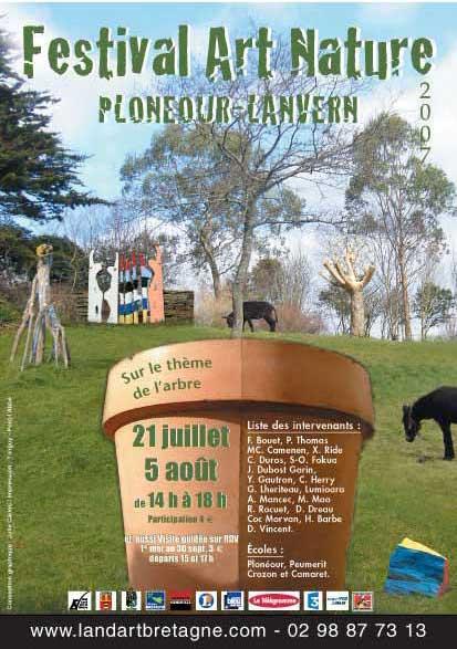 affiche de l'exposition land art 2007 sous l'égide Humanité Biodiversité d'Hubert Reeves