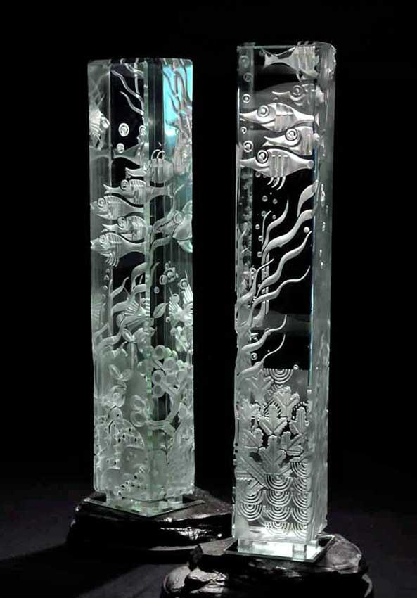 Accueil : portfolio la nature, aquarium dyptique sculpté au jet de sable pièce unique verre et schiste