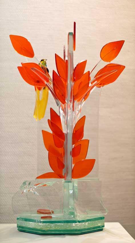 """Accueil : portfolio la nature, arborescence, sculptée et gravée au jet de sable, pièce unique assemblage verre,verre St Just, intitulée """"l'oiseau de paradis"""""""