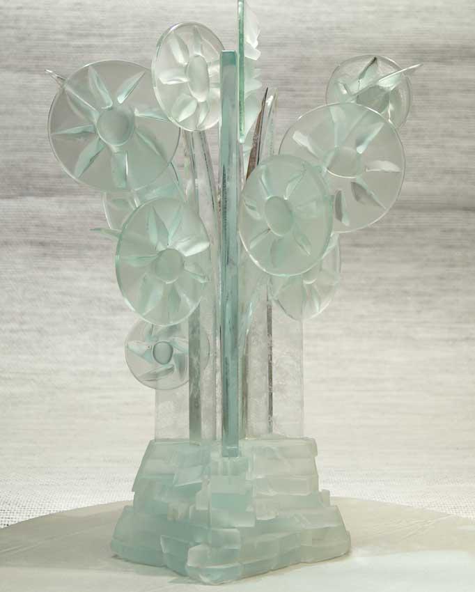 Accueil : portfolio la nature, arborescence, pièce sculptée et gravée au jet de sable pièce unique assemblage verre