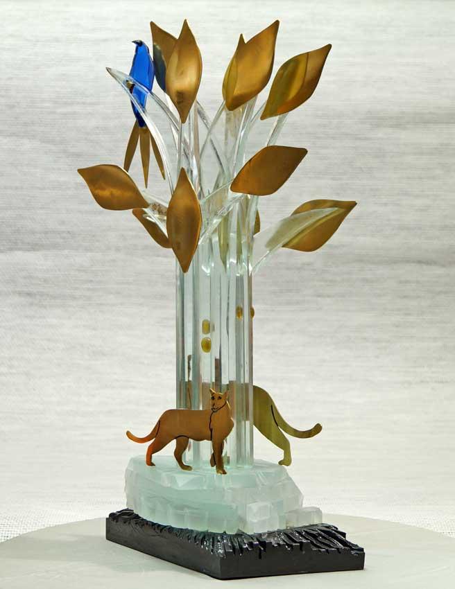 """Accueil : portfolio la nature, arborescence, pièce sculptée et gravée au jet de sable pièce unique assemblage verre,verre St Just, schiste laiton poli gravé laqué, intitulée """"l'attente"""""""