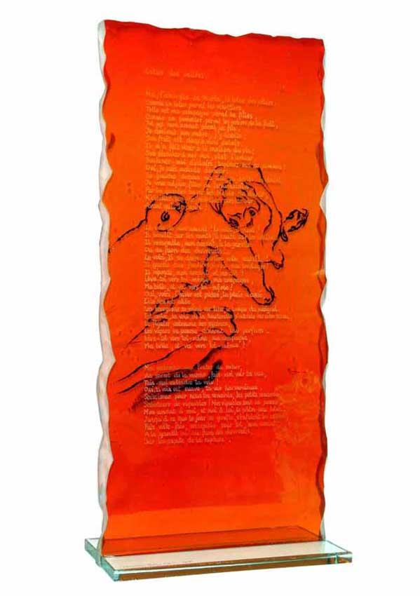 Accueil : portfolio l'humain, cantique des cantiques, ensemble sculpté et gravé au jet de sable, verre,verre St Just, ,poème manuscrit gravé encrage lithographique,pièce unique