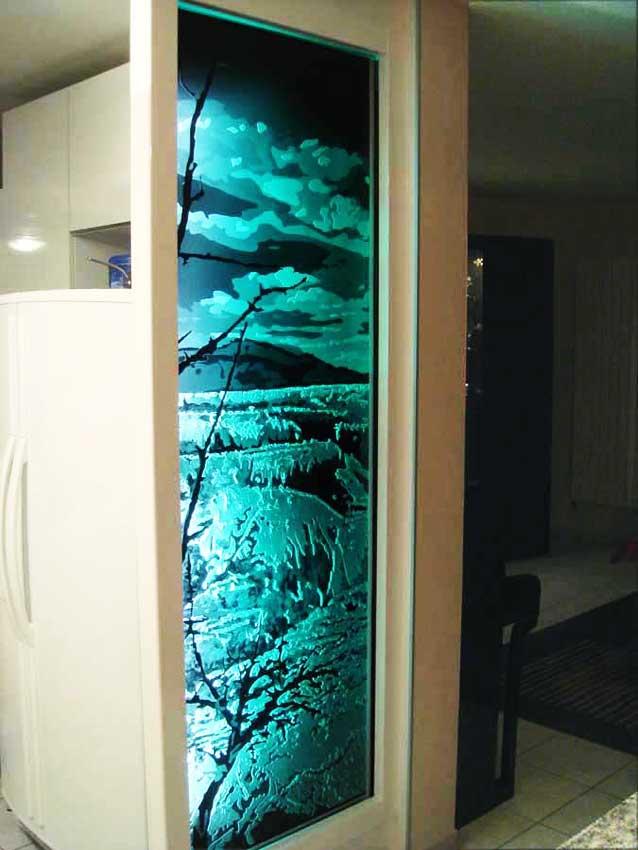 Accueil : portfolio déco,projet 4, écran lumineux dalle de verre gravée éclairée,inspiration concrétions calcaire Yosemite park USA