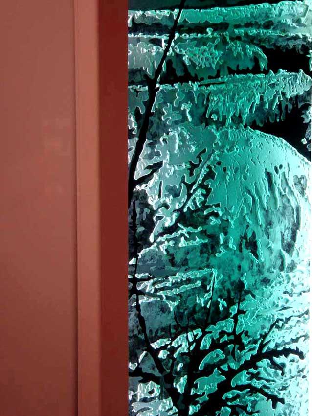 Accueil : portfolio déco,projet 4, écran lumineux dalle de verre gravée éclairée,inspiration concrétions calcaire Yosemite park USA (détail)