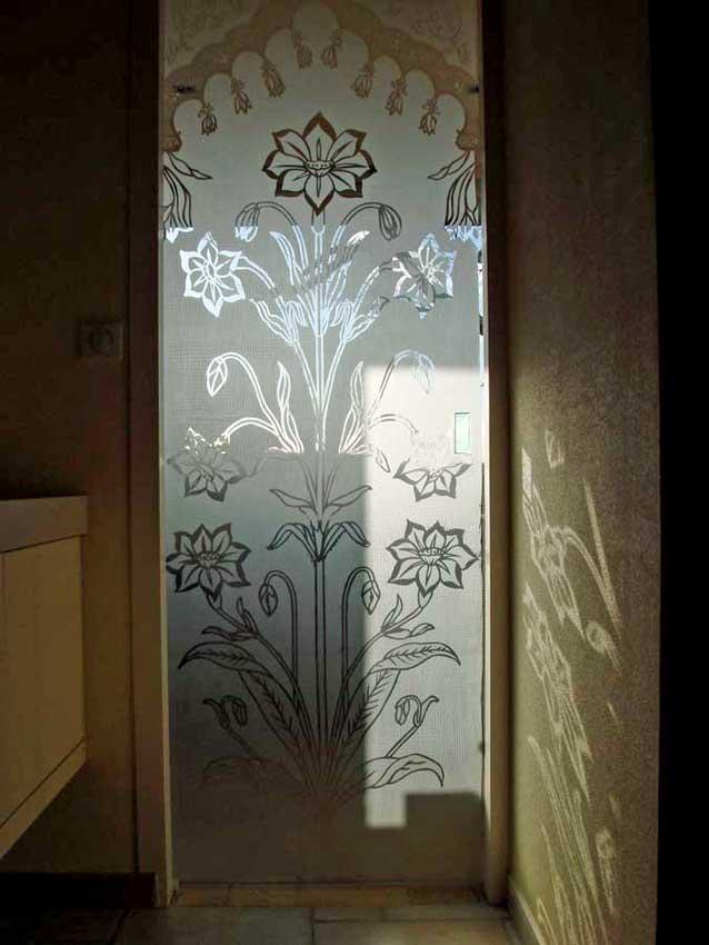 Accueil : portfolio déco,projet 6, portes verre sécurit gravées ,inspiration Moghole , pièces uniques