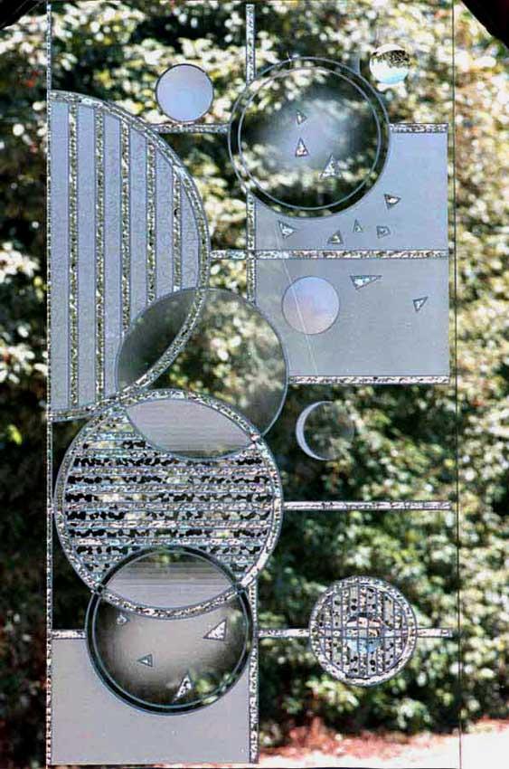 Accueil : portfolio déco,projet 1, dalles de verre 19 mm gravées,bouchardées,éclatées au burin,dépolies,loupe,
