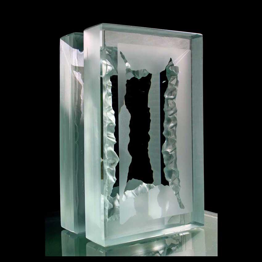 Accueil : portfolio l'absraction, abstraction assemblage verre gravé,scié,poli,dépoli,collé,pièce unique