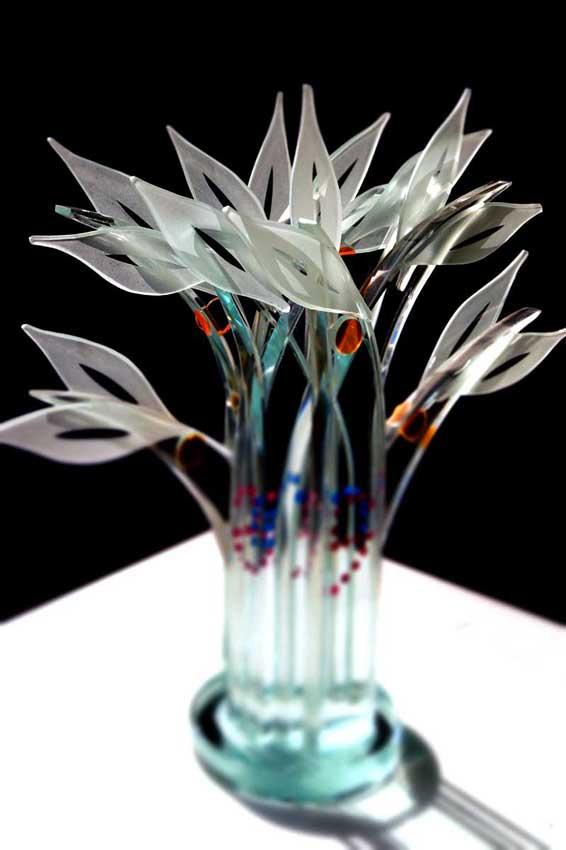 Accueil : portfolio la nature, arborescence, ensemble sculpté et gravé au jet de sable, pièce unique assemblage verre,verre St Just,laque