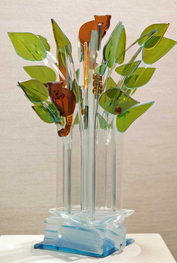 """Accueil : portfolio la nature, arborescence, ensemble sculpté et gravé au jet de sable, pièce unique assemblage verre,verre St Just,miroir intitulée """"le réchauffement climatique 1"""""""