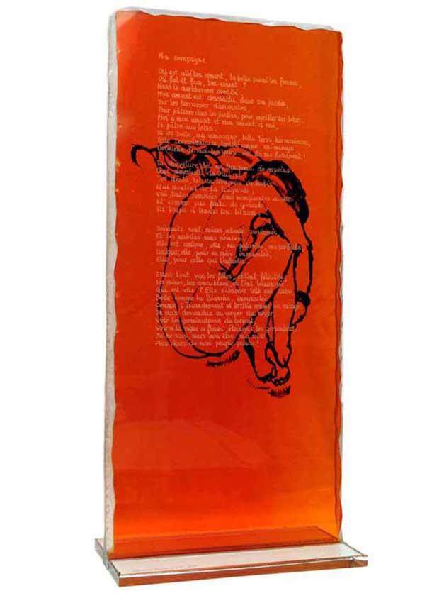 Accueil : portfolio l'humain, cantique des cantiques, ensemble sculpté et gravé au jet de sable, verre,verre St Just,encrage lithographique pièce unique