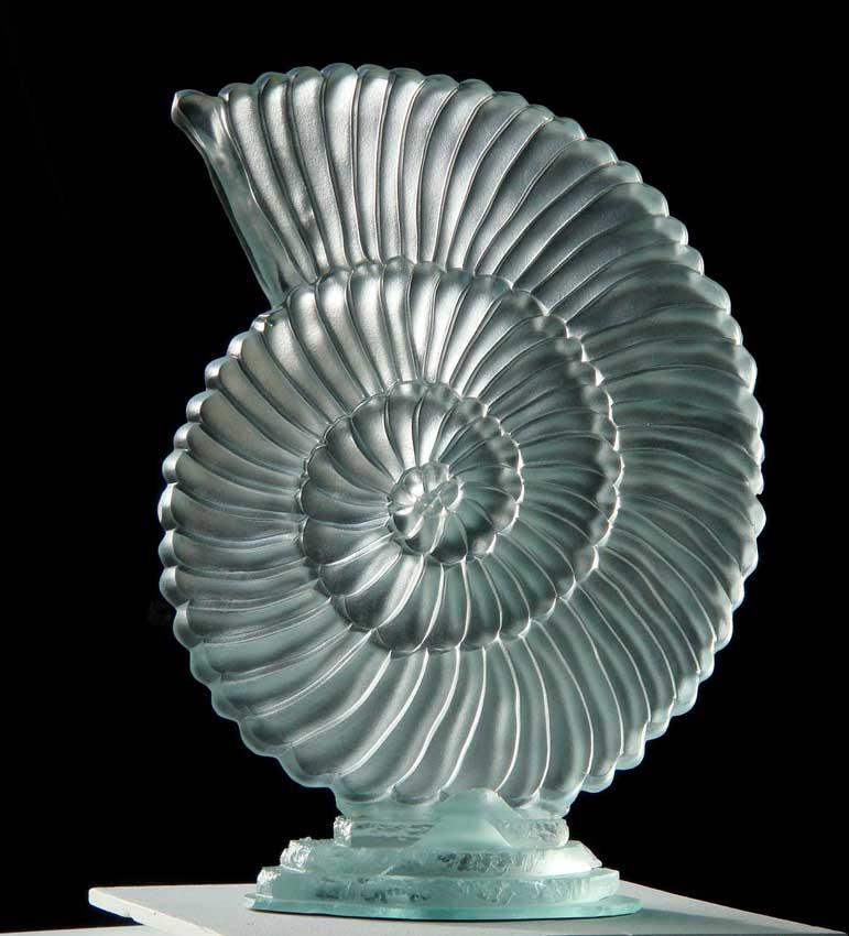 """Accueil : portfolio la nature, coquillages sculptés au jet de sable """"nautile"""""""
