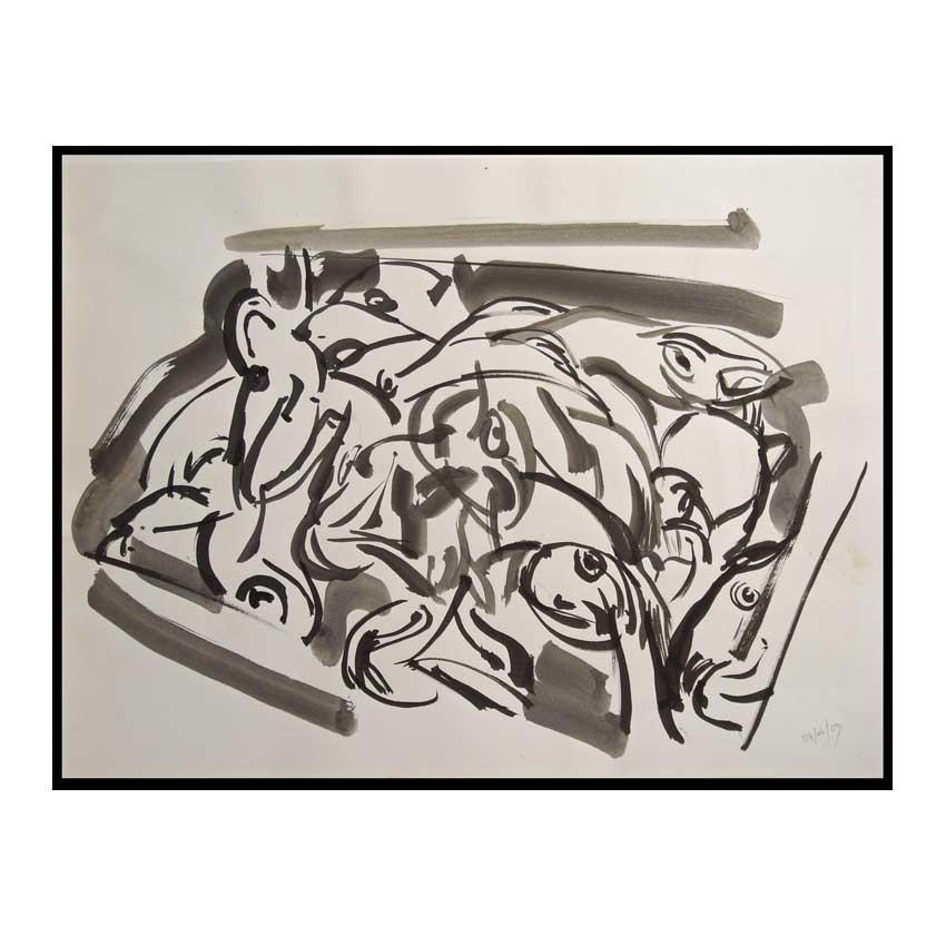 Accueil : portfolio dessin,marines ,Locudy Finistère France ,lavis d'encre de chine sur papier