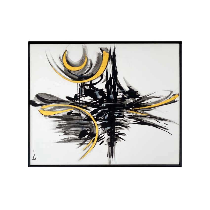 Peinture acrylique sur toile 80 x 100 cm avec rehauts de feuille d'or