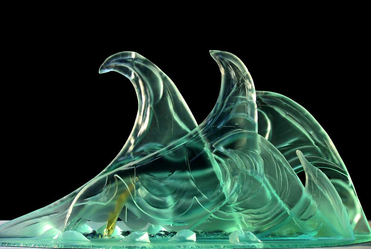 Accueil : portfolio la nature, vagues sculptées au jet de sable avec inclusion de feuilles d'or