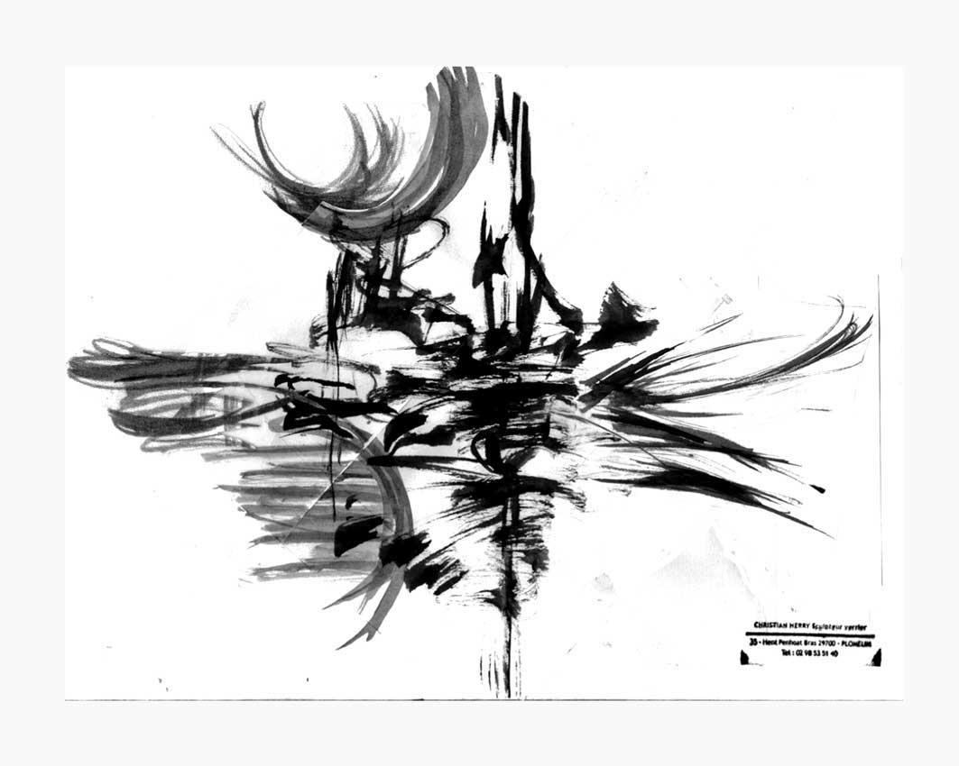 Accueil : portfolio dessin,abstrait,écriture automatique lavis d',encre de chine sur papier