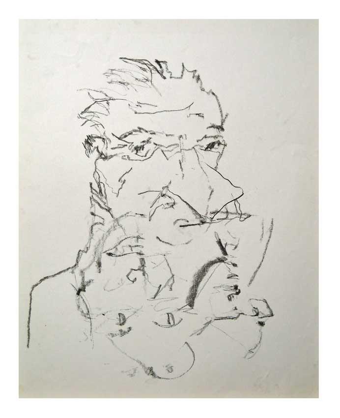 Accueil : portfolio dessin,abstrait,écriture automatique fusain sur papier