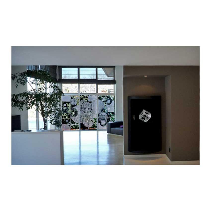 Accueil : portfolio déco,projet 1, triptyque dalles de verre 19 mm gravées,bouchardées,éclats au burin,dépolies,loupe, L: 3m H: 2m