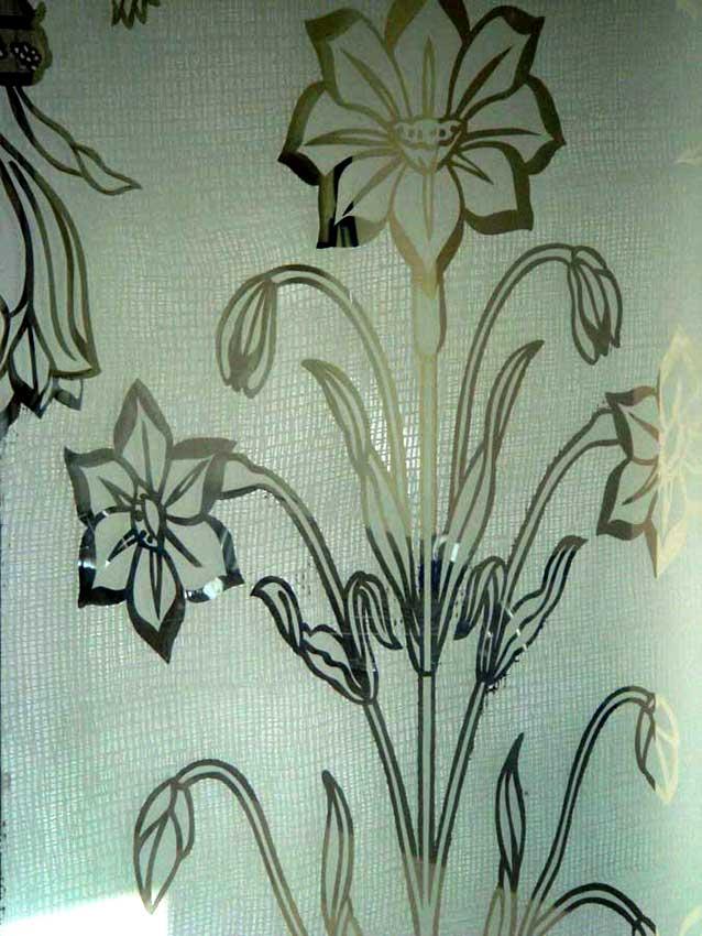 Accueil : portfolio déco,projet 6, portes coulissantes verre sécurit gravées ,inspiration Moghole , pièces uniques (détail texture tissage lin)