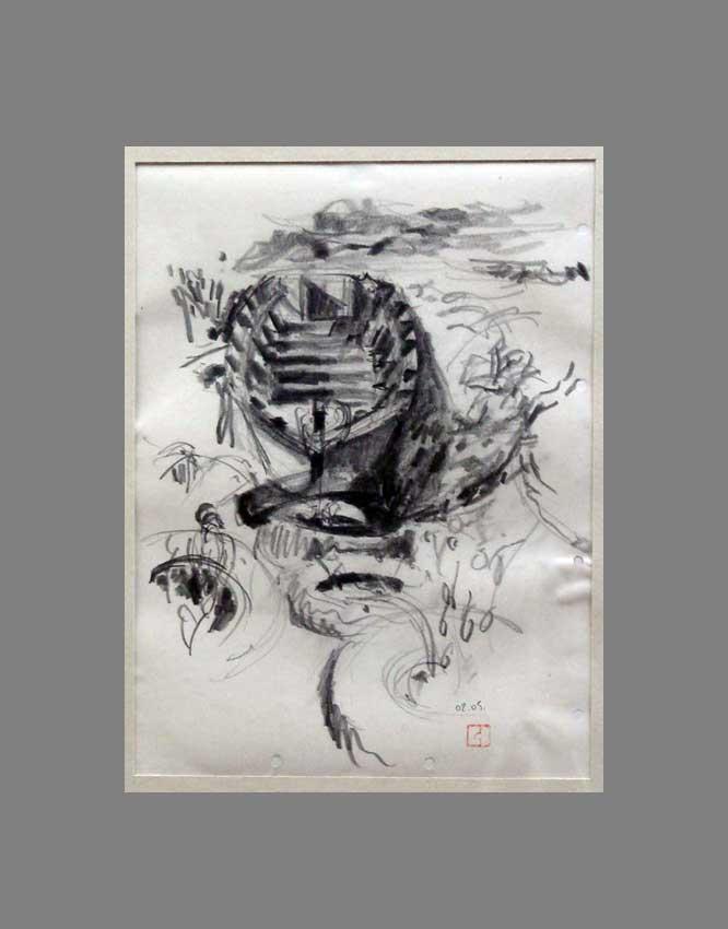Accueil : portfolio dessin,carnet de voyage, sketching book,Ile aux Moines Morbihan France ,mine de plomb sur papier