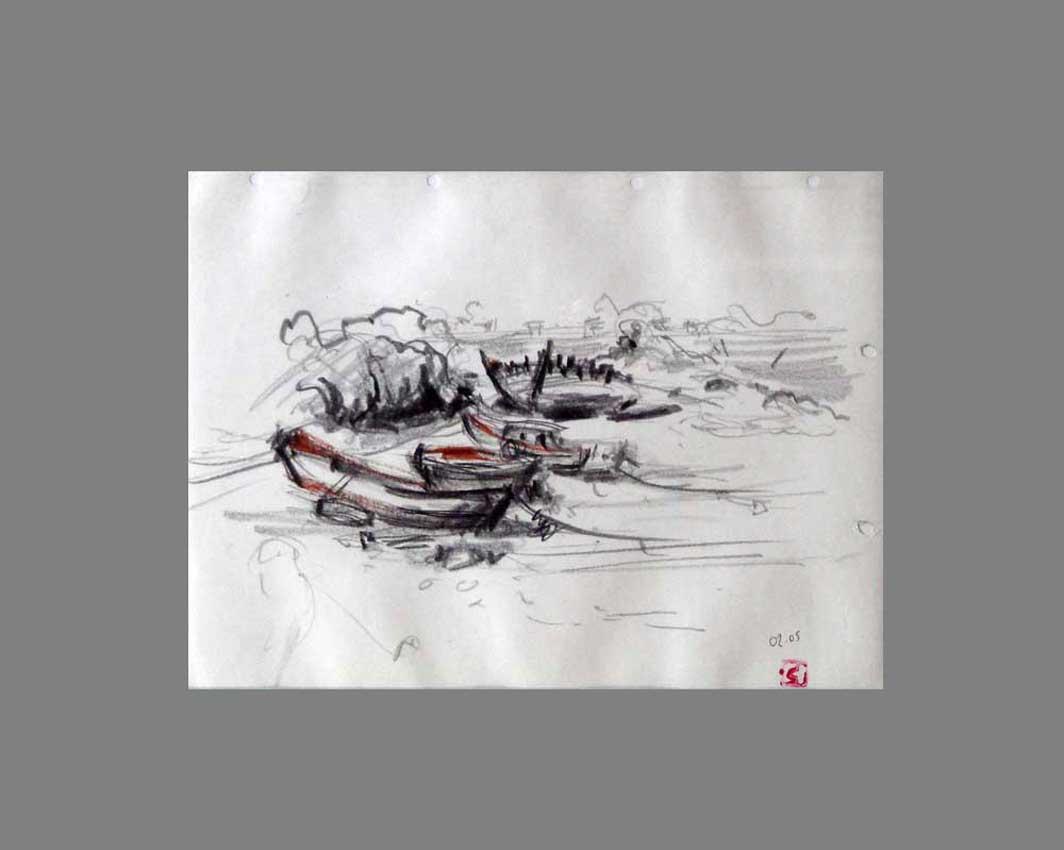 Accueil : portfolio dessin,carnet de voyage, sketching book,Ile aux Moines Morbihan France ,mine de plomb sur papier,rehauts sanguine