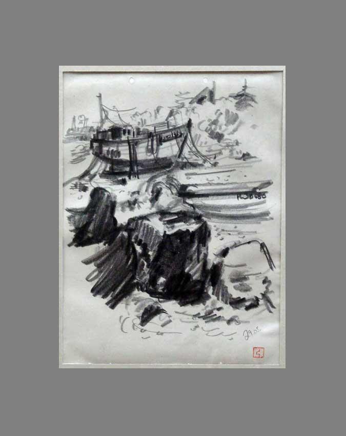 Accueil : portfolio dessin,carnet de voyage, sketching book,Ile de Bréhat Cötes d'Armor France ,mine de plomb sur papier
