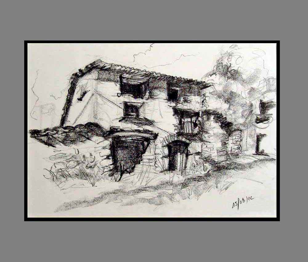 Accueil : portfolio dessin,carnet de voyage, sketching book,Rodellar Aragon España ,crayon lithographique gras sur papier