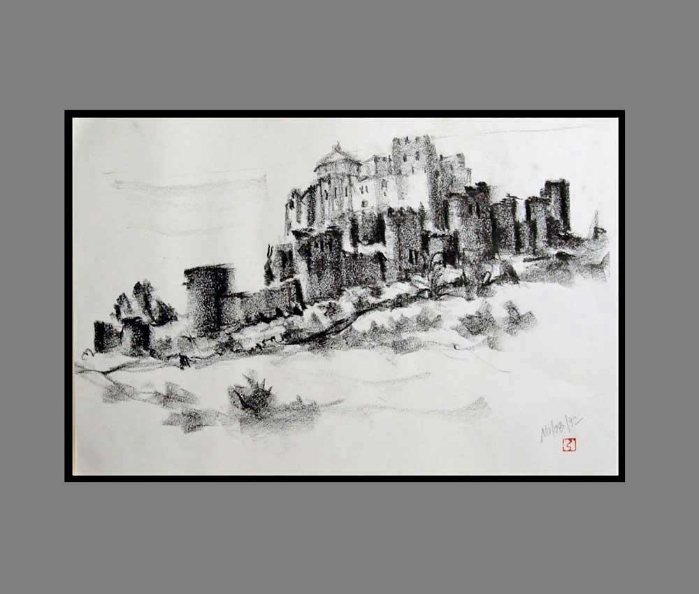 Accueil : portfolio dessin,carnet de voyage, sketching book, Castillo de Monte Aragon Huesca España ,crayon lithographique gras sur papier