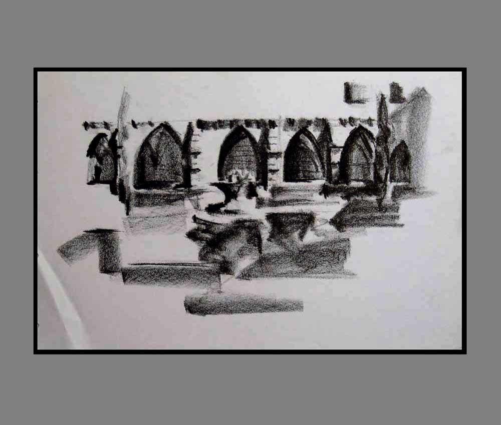 Accueil : portfolio dessin,carnet de voyage, sketching book, Aragon España ,crayon lithographique gras sur papier