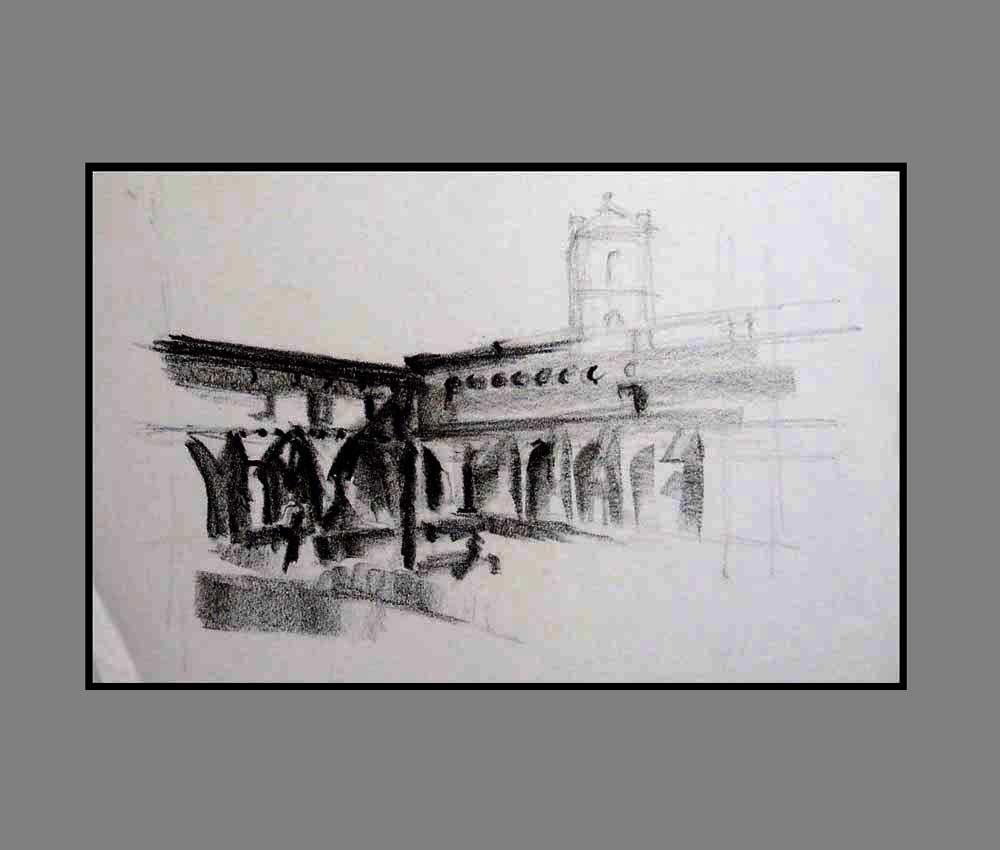 Accueil : portfolio dessin,carnets de voyages sketching book, Aragon España ,crayon lithographique gras sur papier