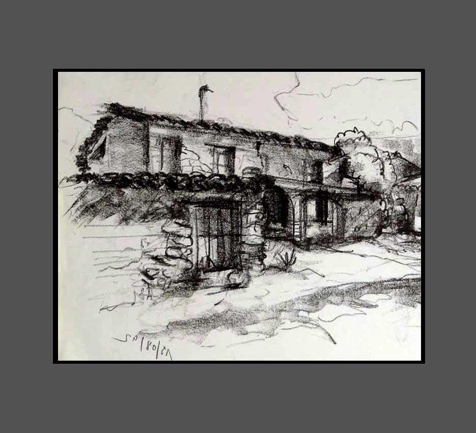 Accueil : portfolio dessin,carnets de voyages sketching book,Rodellar Aragon España ,crayon lithographique gras sur papier