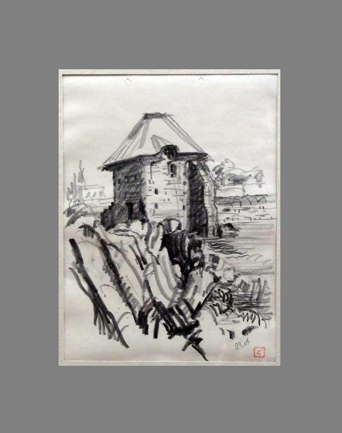 Accueil : portfolio dessin,carnet de voyage, sketching book,Moulin à marée Ile de Bréhat Cötes d'Armor France ,mine de plomb sur papier