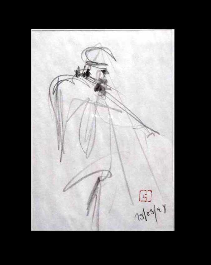 Accueil : portfolio dessin,jazz, sketching jazz ,croquis de concert Kenny Garrett 1998 ,mine de plomb sur bloc sténo