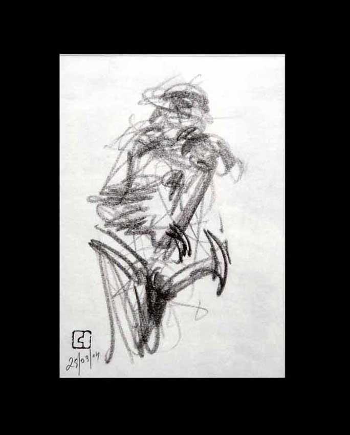 Accueil : portfolio dessin,jazz, sketching jazz ,croquis de concert 2004 ,mine de plomb sur bloc sténo