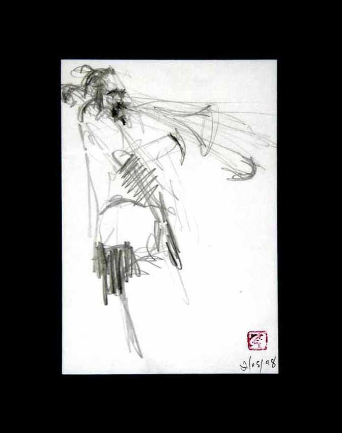 Accueil : portfolio dessin,jazz, sketching jazz ,croquis de concert Lester's Bowie brass Fantasy 1998 ,mine de plomb sur bloc sténo