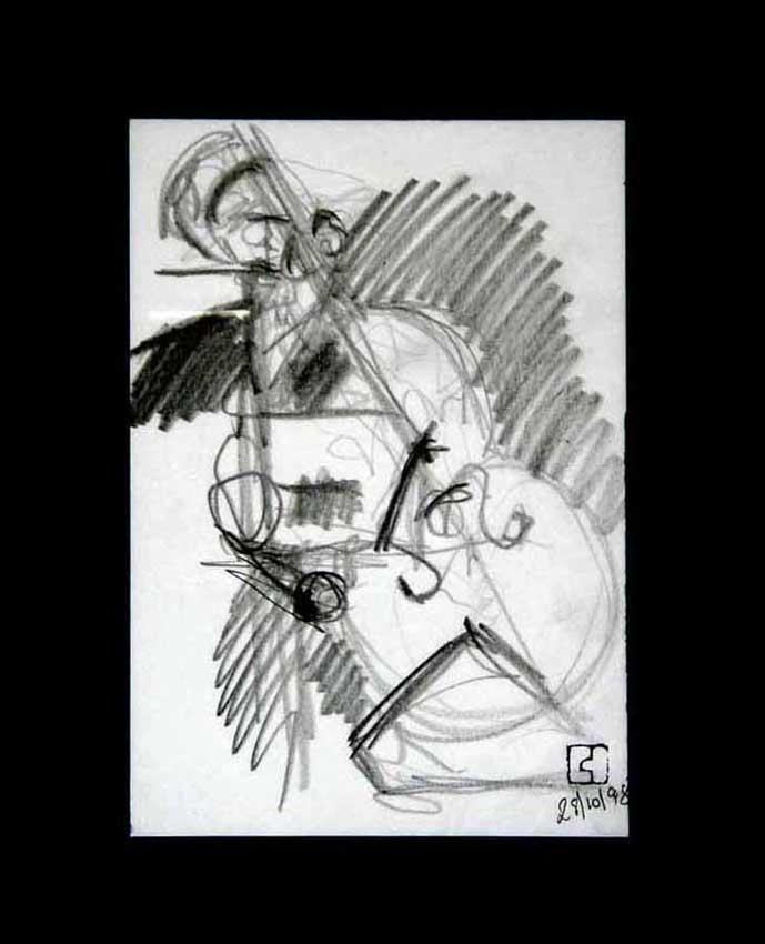 Accueil : portfolio dessin,jazz, sketching jazz ,croquis de concert 1998 ,mine de plomb sur bloc sténo