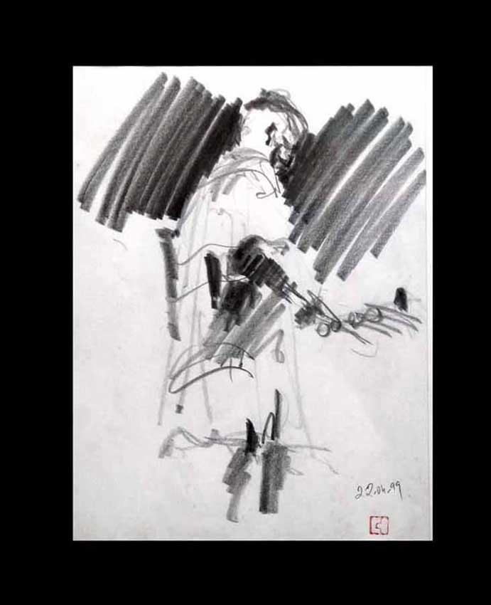 Accueil : portfolio dessin,jazz, sketching jazz ,croquis de concert Habib Koité 1999 ,mine de plomb, sur bloc sténo