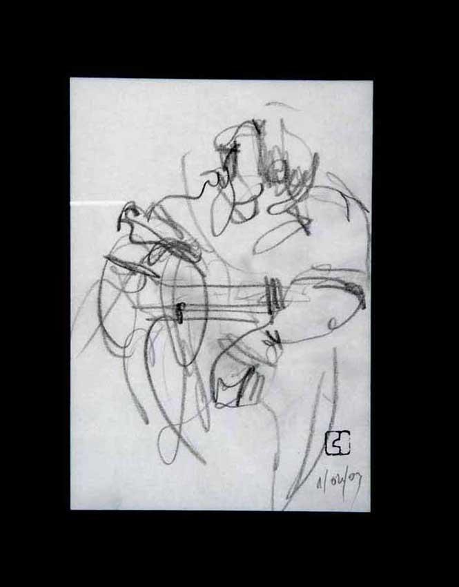 Accueil : portfolio dessin,jazz, sketching jazz ,croquis de concert Bireli Lagrène 2003 ,mine de plomb sur bloc sténo