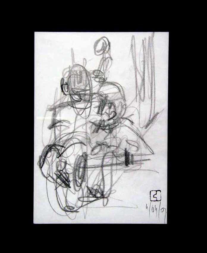 Accueil : portfolio dessin,jazz,sketching jazz ,croquis de concert Bireli Lagrène 2003 ,mine de plomb sur bloc sténo