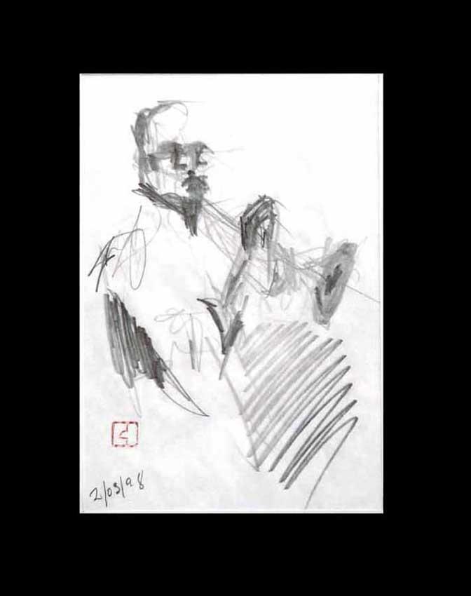 Accueil : portfolio dessin,jazz, sketching jazz ,croquis de concert Lester's Bowie brass Fantasy 1998 ,mine de plomb, sur bloc sténo