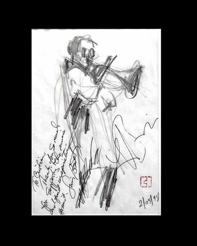 "Accueil : portfolio dessin,jazz, sketching jazz ,croquis de concert Lester's Bowie brass Fantasy 1998 ,mine de plomb,sur bloc sténo,dédicace de Lester Bowie trompette,Luis Bonilla,tromboniste.. ""To Christian,thanks you so much for supporting the music and find inspiration from it"""