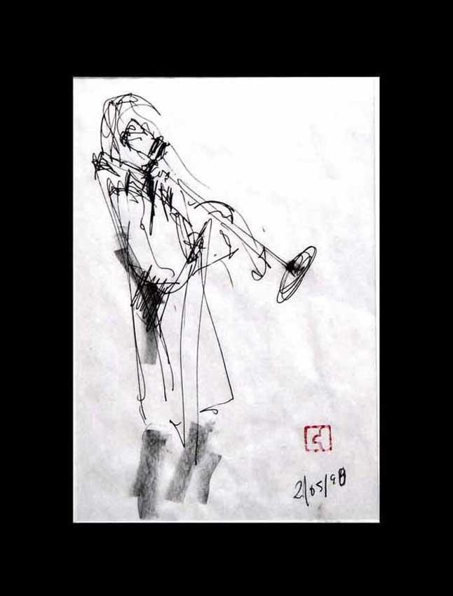 Accueil : portfolio dessin,jazz, sketching jazz ,croquis de concert Lester's Bowie brass Fantasy 1998 ,mine de plomb,feutre à bille sur bloc sténo